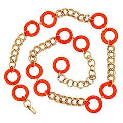 Gold Chain & Orange Enamel Rings Belt By Napier, 1970s