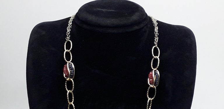 Gold Chain with Natural Pearls Blue Sapphire and Red Rubies Necklaces In Excellent Condition For Sale In Bosco Marengo, IT