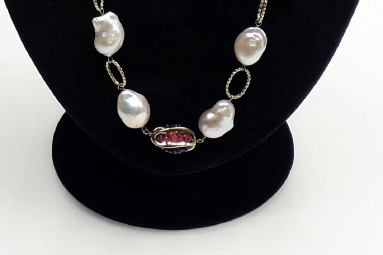 Women's Gold Chain with Natural Pearls Blue Sapphire and Red Rubies Necklaces For Sale