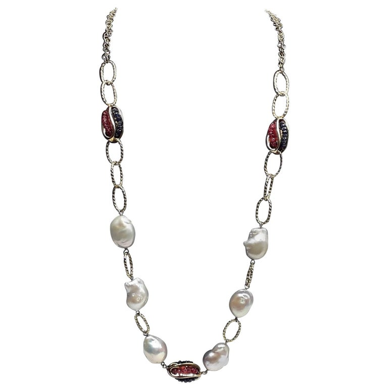 Gold Chain with Natural Pearls Blue Sapphire and Red Rubies Necklaces For Sale