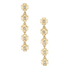 Gold Chandelier Earrings with Diamonds by ARK Fine Jewelry