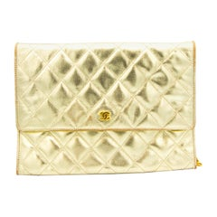 Gold Chanel Checkered Leather Shoulder Bag