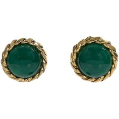 Chanel Gold Green Gemstone Clip-On Earrings