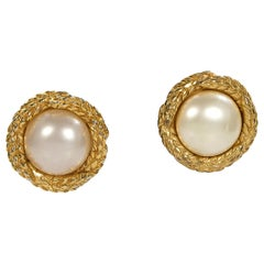 Gold Chanel Pearl Large Clip-On Earrings