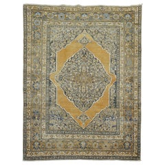 Gold Charcoal Antique Persian Tabriz Rug, Early 20th Century