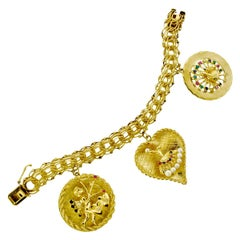 Gold Charm Bracelet with Precious Stones, circa 1960