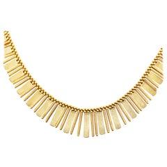 Gold Choker Collar Necklace, 18 Karat Gold Textured Gold Links Custom Jewelry