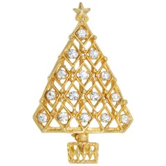 Gold Christmas Tree Fashion Pin Brooch