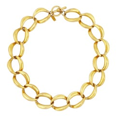 Gold Chunky Oval Link Chain Choker Necklace By Anne Klein, 1980s
