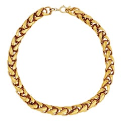 Gold Chunky Woven Chain Necklace By Napier, 1980s