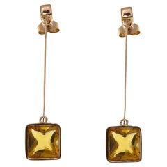 Gold Citrine 9 Karat Rose Gold Dangle Earrings Handcrafted in Italy
