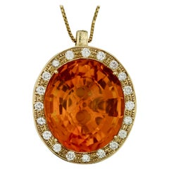 Gold, Citrine, and Diamond Pendant Necklace