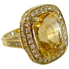 Gold, Citrine, and Diamond Ring