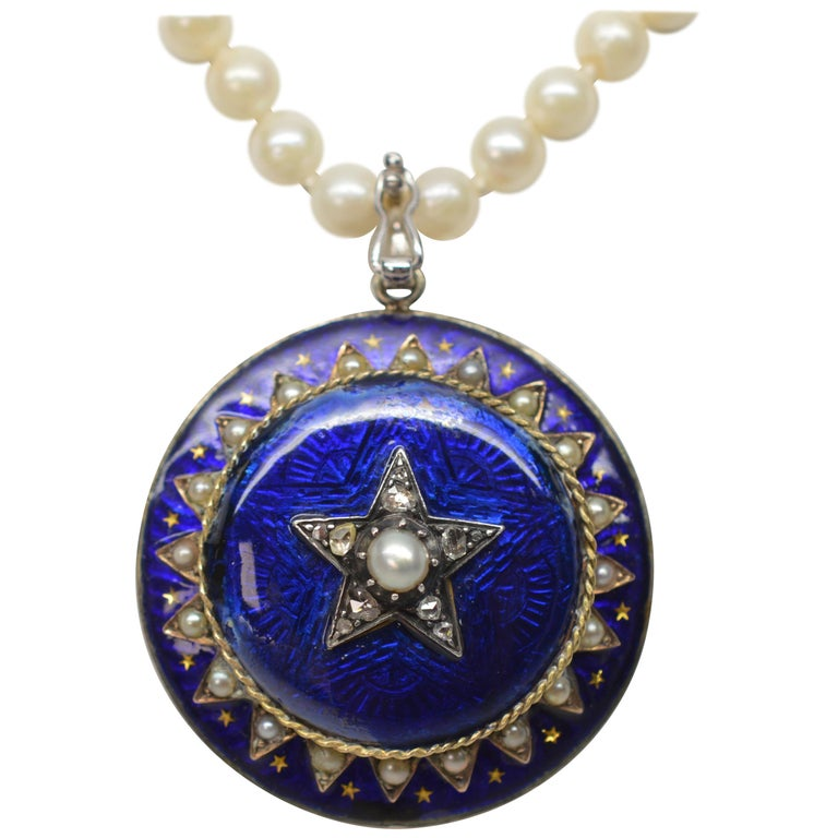 Gold Cobalt Blue Enamel Brooch Pendant Pearl Necklace with Diamond Accents For Sale