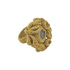 Gold Cocktail Ring 18 Karat Aquamarine Art Nouveau Handmade Custom Order Crochet