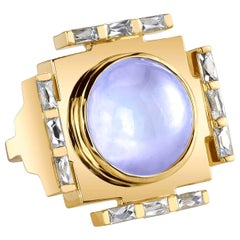 Gold Cocktail Ring with Diamonds and an African Moonstone by ARK Fine Jewelry