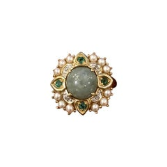 Gold Cocktail Ring with Moon Stone, Pearls, Diamonds and Emeralds