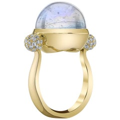 Gold Cocktail Ring with Moonstone Diamonds by ARK Fine Jewelry