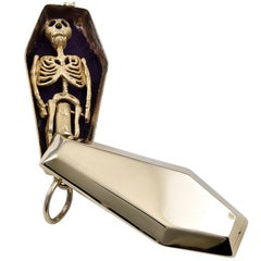 Gold Coffin Charm with Skeleton
