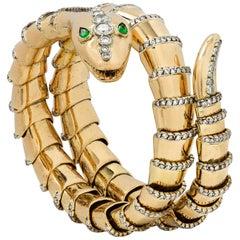Gold Coiled Snake Bracelet