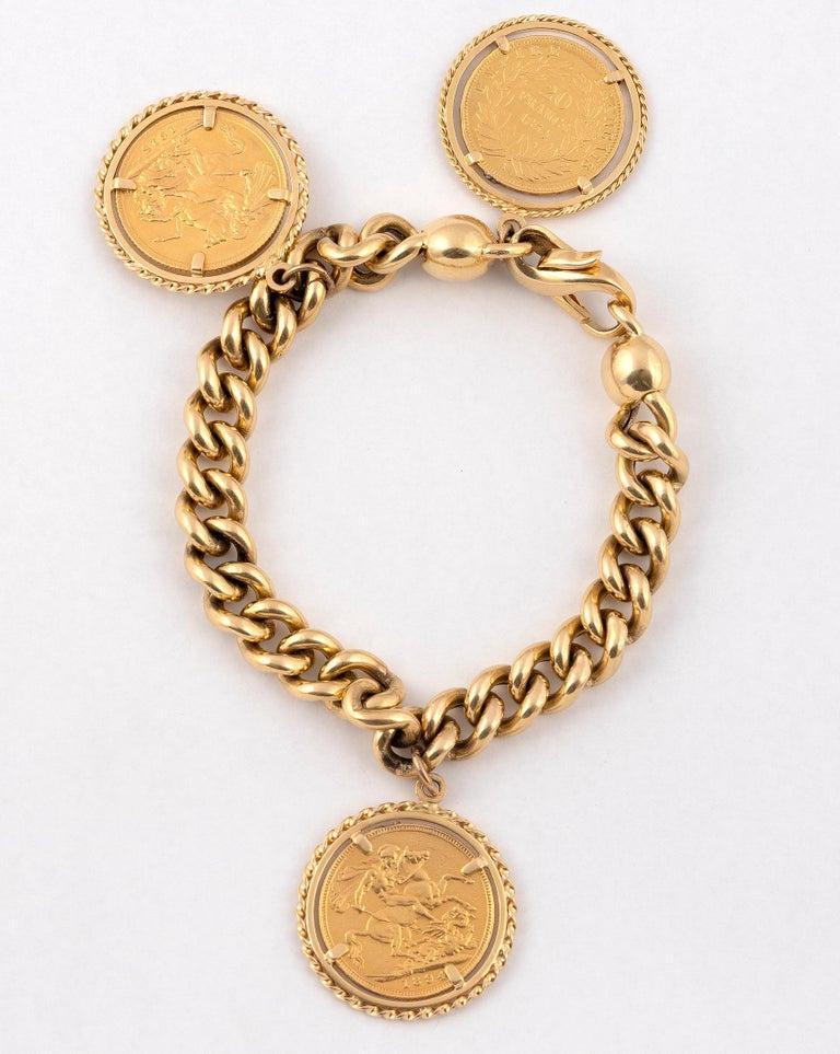 Art Nouveau Gold Coin Charm Bracelet For Sale