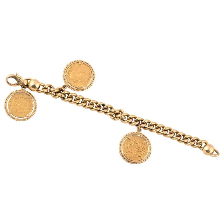 Gold Coin Charm Bracelet In Excellent Condition For Sale In Firenze, IT