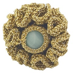 Gold Color Thread Bold Maximalist Flower Crochet Ring Amazonite One Of A Kind
