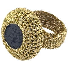 Gold Color Thread Bold Striking Cocktail Ring Natural Lava Stone Handcrafted