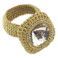 Gold Color Thread Crochet Classic Cocktail Ring Clear Vintage Swarovski Crystal