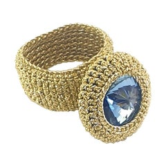 Gold Color Thread Crochet Classic Cocktail Ring Custom Made Swarovski Crystals