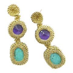 Gold Color Thread Crochet Contemporary Drop Earrings Turquoise  Purple Swarovski