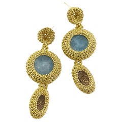 Gold Color Thread Crochet Contemporary Earrings Jade Crystals Fashion Artistic
