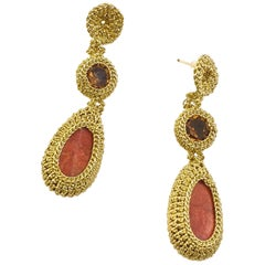 Gold Color Thread Crochet Drop Earrings Red Coral Crystal Fashion Art Hand Made