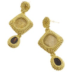 Gold Color Thread Crochet Statement Drop Earrings Art Fashion Prehnite Crystal