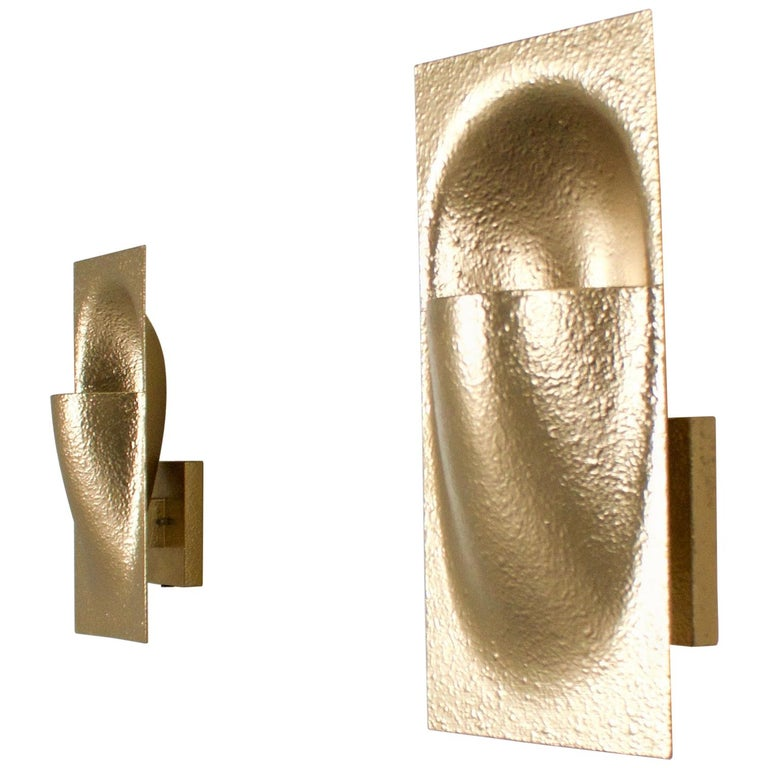 Gold Colored 'Balance' Sconces by Bertrand Balas for RAAK Amsterdam, 1972 For Sale