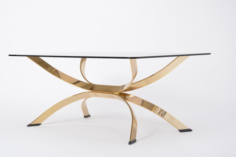 Gold Colored Mid-Century Modern coffee table with smoked Glass top For Sale 5