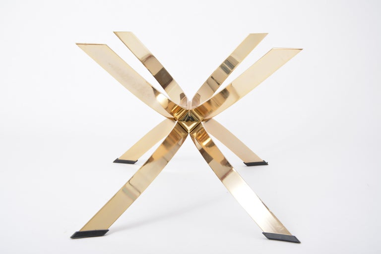 Metal Gold Colored Mid-Century Modern coffee table with smoked Glass top For Sale