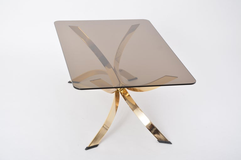 Gold Colored Mid-Century Modern coffee table with smoked Glass top For Sale 4