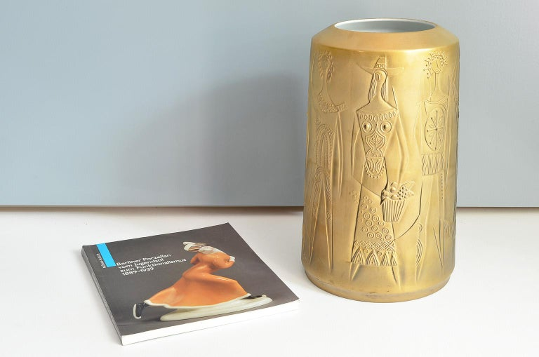 Gold Colored Porcelain Vase by Cuno Fischer for Hutschenreuther, Germany, 1969 2