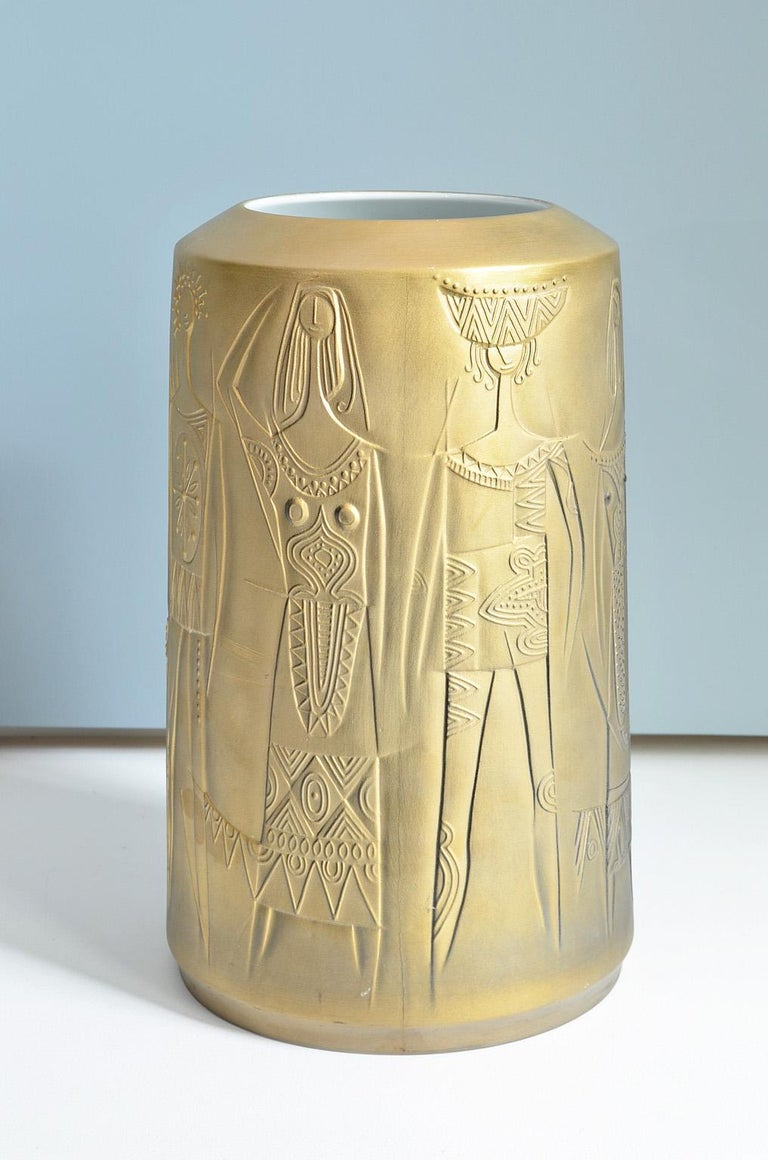 Gold Colored Porcelain Vase by Cuno Fischer for Hutschenreuther, Germany, 1969 3