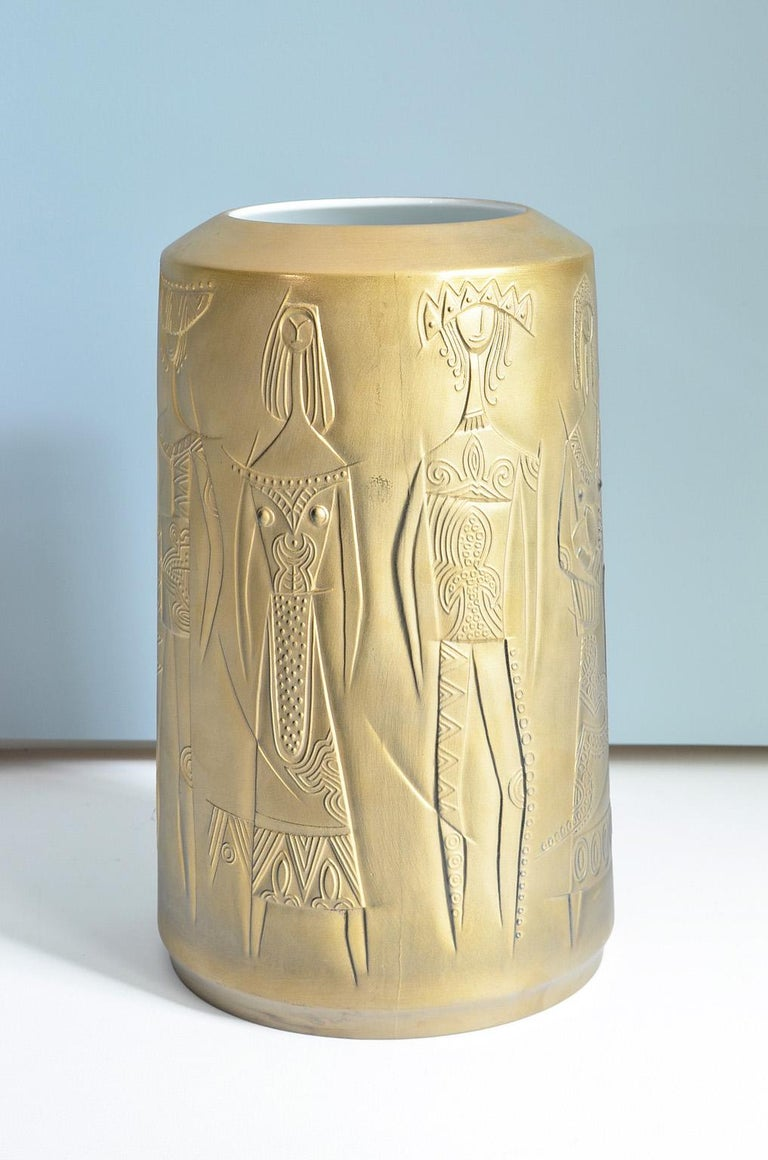 Gold Colored Porcelain Vase by Cuno Fischer for Hutschenreuther, Germany, 1969 4