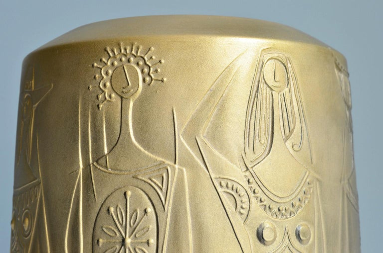 Gold Colored Porcelain Vase by Cuno Fischer for Hutschenreuther, Germany, 1969 8