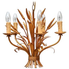 Gold Coloured Sheaf of Wheat Tole Chandelier, 1970s, Italy