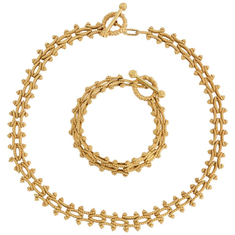 Gold Combinable Necklace and Bracelet For Sale