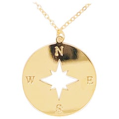 Gold Compass Necklace, 14 Karat Gold, Journey to Follow Your Heart, 14 Karat G