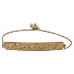 Gold Confetti Bar Bracelet, 14K Yellow Gold Bar Bracelet with Bolo Clasp