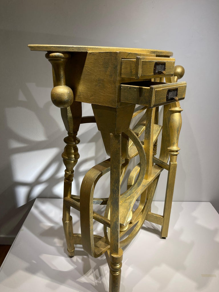 Hand-Crafted Gold Console Table with Two Drawers