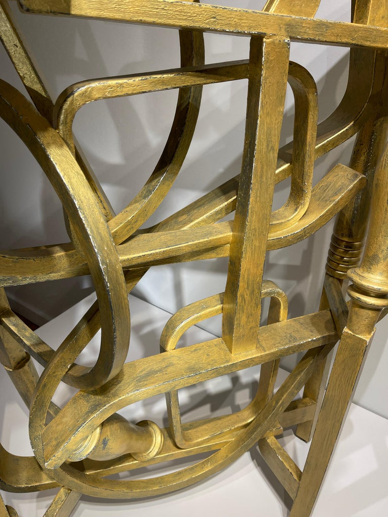 Contemporary Gold Console Table with Two Drawers