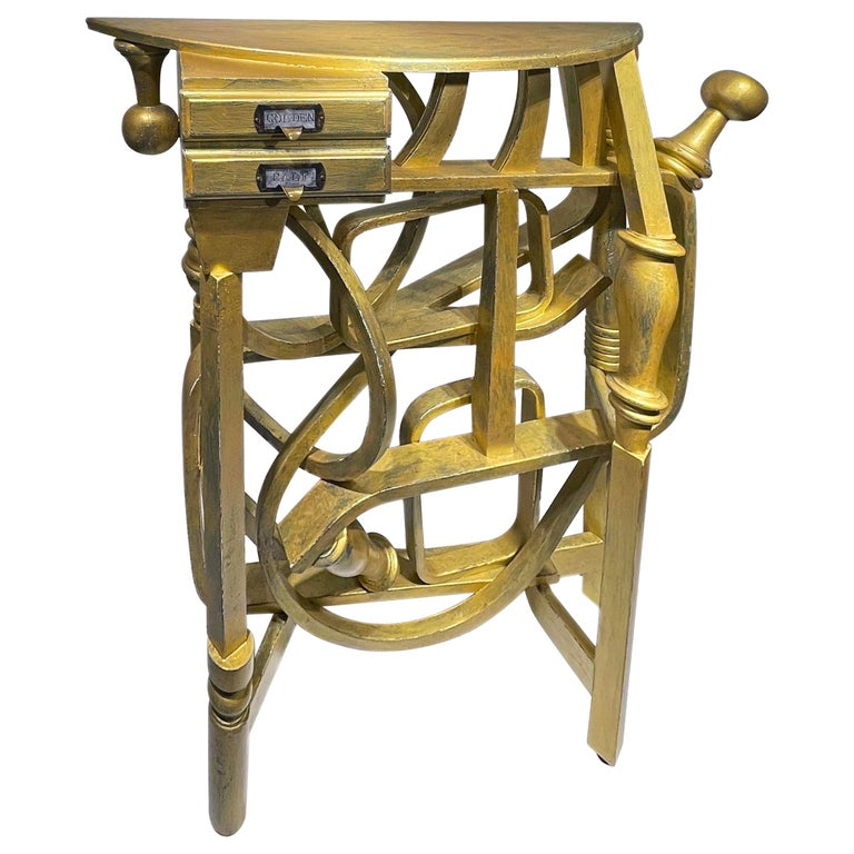 """Gold Console Table with Two Drawers """"Golden Calf"""" For Sale"""