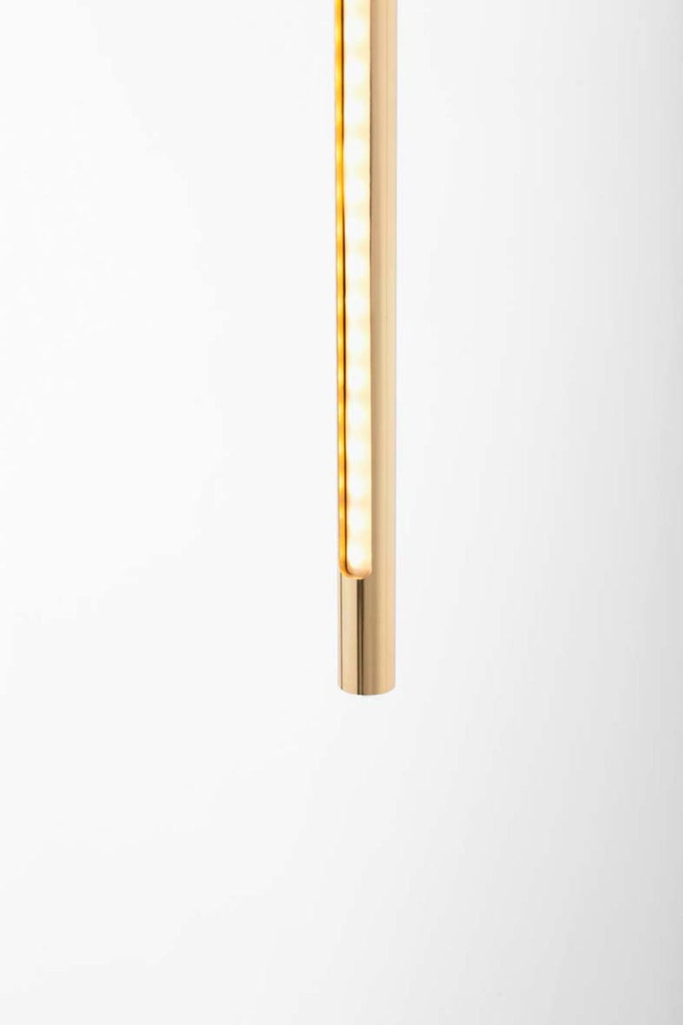 Italian Gold Contemporary Ceiling Lamp in Tubular Brass, LED Lamp Type For Sale